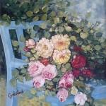 Scaun albastru cu trandafiri